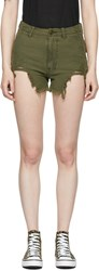R 13 R13 Green Distressed Camp Shorts