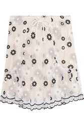 See By Chloe Embroidered Tulle Mini Skirt Off White
