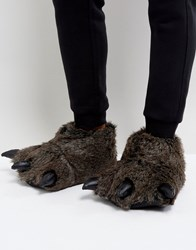 Asos Claw Slippers In Charcoal Black