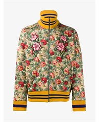 Gucci Floral Print Cotton Blend Jacket Green Multi Coloured Pink Blue Yellow Black