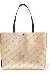 Stella Mccartney Net Sustain Perforated Metallic Faux Leather Tote Gold