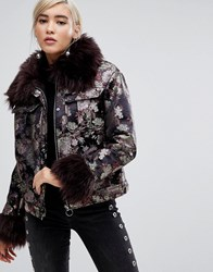 Lost Ink Jacket In Metallic Brocade With Faux Fur Trim Multi