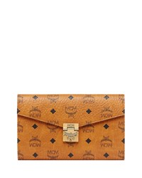 Mcm Patricia Visetos Two Fold Wallet On Chain Cognac