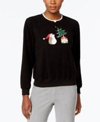 Alfred Dunner Hedgehog Holiday Sweater Black