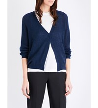 Brunello Cucinelli V Neck Knitted Cardigan Navy