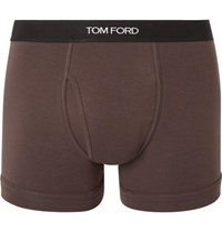 Tom Ford Stretch Cotton Boxer Briefs Brown