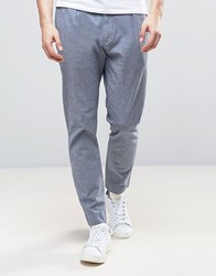 Selected Homme Chino In Stretch Tapered Fit With Pleats Dark Saphire Cream