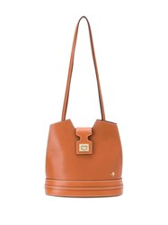 Manu Atelier Stitch Details Bucket Bag Brown