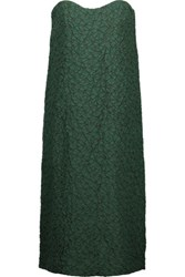 Nina Ricci Strapless Silk Blend Cloque Dress Forest Green