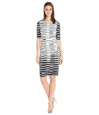 Vince Camuto Printed Knit Bodycon Dress With Ruching Navy Ivory Women's Dress Blue