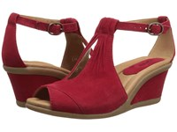 Earth Caper Bright Red Suede Women's Wedge Shoes