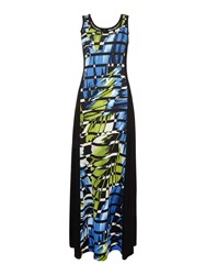 Simon Jeffrey Printed Paneled Maxi Dress Green