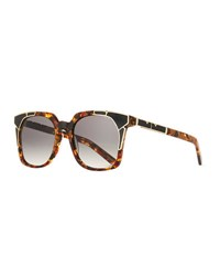 Pared Eyewear Tutti And Fruity Square Sunglasses W Resin Inlay Brown Gold