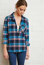 Forever 21 Plaid Flannel Shirt Blue Navy