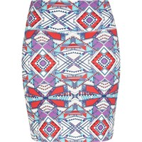 River Island Womens Red Geometric Aztec Print Mini Skirt