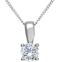 Diamond Collection 18Ct White Gold Round Brilliant Solitaire Pendant Necklace 0.5Ct
