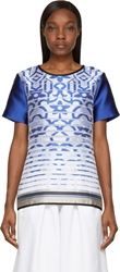 Ostwald Helgason Royal Blue Satin Degraded Jacquard T Shirt