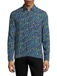 Sandro Abstract Print Shirt Electric Blue