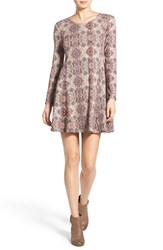 Women's Lush 'Lauren' Long Sleeve Shift Dress Beige Paisley Print
