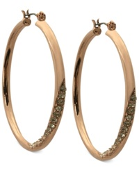 Guess Earrings Rose Gold Tone Crystal Twisted Hoop Earrings