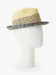 0dbbfc2038487 Paul Smith Two Tone Trilby Hat Natural Navy
