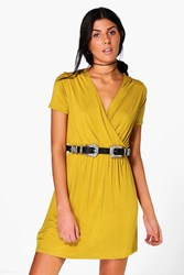 Boohoo Cap Sleeve Wrap Skater Dress Chartreuse