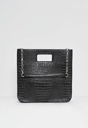 Missguided Black Croc Embossed Structured Tote Bag