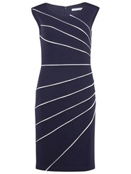 Gina Bacconi Soft Ponti Dress With Contrast Piping Nautical Navy