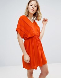 Vero Moda Short Sleeve Skater Dress With Elasticated Waist And Lace Detail Mandarin Orange