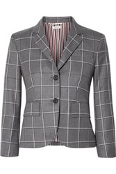 Thom Browne Checked Wool Blazer Gray