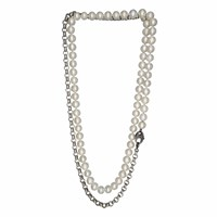 Plumeria Exclusive London Pearls And Silver Chain Lariat With Diamond Clasp