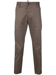 Dsquared2 Zip Detail Tailored Trousers Cotton Calf Leather Spandex Elastane Brown