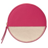 John Lewis Liv Leather Round Coin Purse Pink