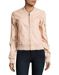 Design Lab Lord And Taylor Faux Leather Bomber Jacket Blush