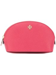Tory Burch Logo Embossed Make Up Bag Women Leather One Size Red