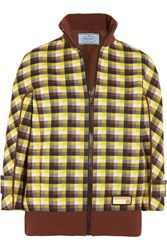 Prada Checked Jacquard Knit Bomber Jacket Brown