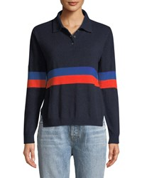 Kule The Rainey Long Sleeve Cashmere Combo Top Blue Red