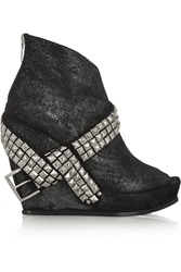 Balmain Glam Stud Embellished Glitter Finished Suede Wedge Ankle Boots Black