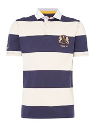 Howick Men's Santa Cruz Block Stripe Short Sleeve Rugby French Navy