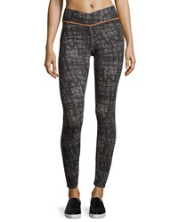 Yummie Tummie Hannah Crocodile Print V Waist Leggings Black Gray