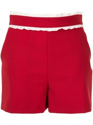 Red Valentino Frill Trim Shorts Red