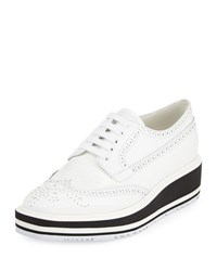Prada Brogue Leather Microsole Sneaker Bianco
