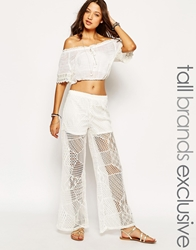 Glamorous Tall Lace Embroidered Palazzo Pant Cream