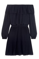 Michael Michael Kors Off The Shoulder Ruffled Chiffon Mini Dress Navy