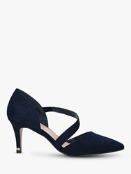 Carvela Kyto Cross Strap Stiletto Heel Suede Court Shoes Navy