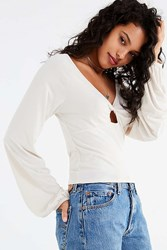 Truly Madly Deeply Twist Front Top Ivory