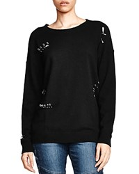 The Kooples Slashed And Pinned Cashmere Sweater Black
