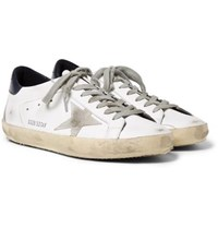 Golden Goose Superstar Distressed Leather And Suede Sneakers White
