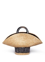 Eugenia Kim Tweed Straw Hat Bag Neutral