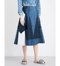Maje Jabla Patchwork Denim Skirt